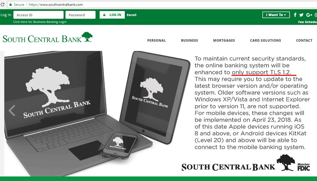 Home page of South Central Bank