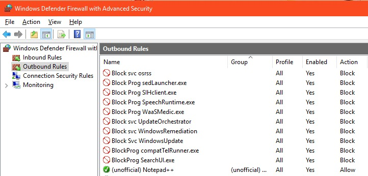 Outbound Firewall Rules in Windows 10